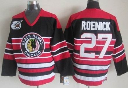 a82f3716a ... Vintage Throwback Jersey Chicago Blackhawks 27 Jeremy Roenick Black  Pinstripe 75TH Throwback CCM Jersey ...