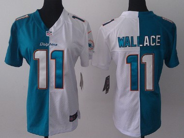 nike miami dolphins 11 mike wallace 2013 greenwhite two tone womens jersey