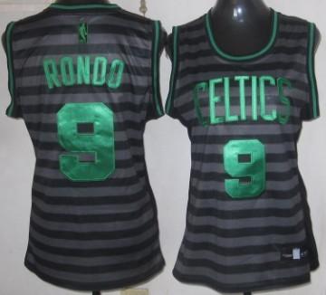 8db37e67a Boston Celtics 9 Rajon Rondo Gray With Black Pinstripe Womens Jersey ...