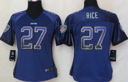Nike Baltimore Ravens #27 Ray Rice Drift Fashion Purple Womens Jersey