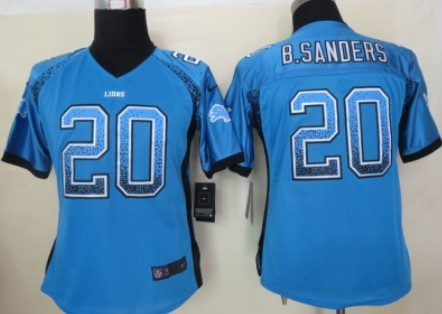3734c4334 Nike Detroit Lions  21 Reggie Bush Light Blue Game Womens Jersey on ...