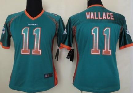 nike miami dolphins 11 mike wallace drift fashion green womens jersey