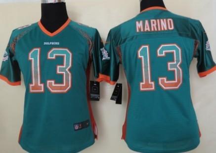 2013 white elite jersey nike miami dolphins 13 dan marino drift fashion green womens jersey