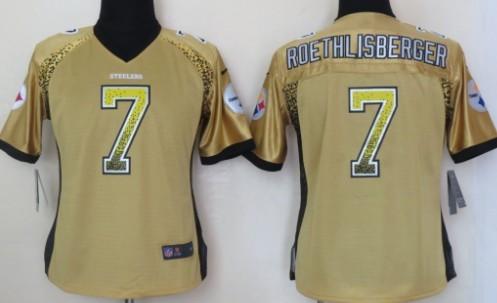 88e6e187775 Nike Pittsburgh Steelers  7 Ben Roethlisberger Drift Fashion Yellow Womens  Jersey