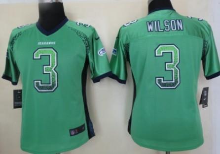 cb79daadc Nike Seattle Seahawks #3 Russell Wilson Drift Fashion Green Womens Jersey