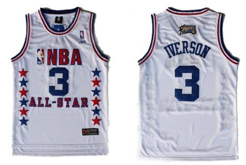 96991270d58 NBA 2003 All-Star 3 Allen Iverson White Swingman Throwback Jersey Reebok NBA  Philadelphia 76ers ...