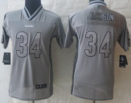 timeless design 61338 b349a nike oakland raiders 34 bo jackson 2013 gray vapor kids jersey