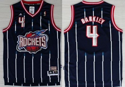 4bc836ddc ... Houston Rockets 4 Charles Barkley ABA Hardwood Classic Swingman Navy  Blue Jersey ...