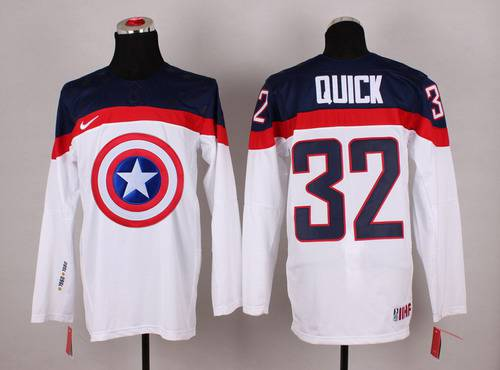 2015 Men's Team USA #32 Jonathan Quick Captain America Fashion White Jersey