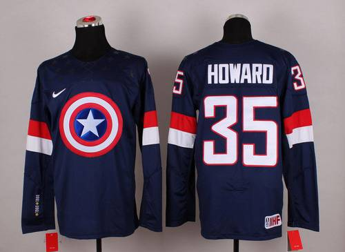 2015 Men's Team USA #35 Jimmy Howard Captain America Fashion Navy Blue Jersey