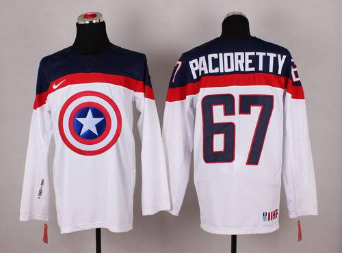 2015 Men's Team USA #67 Max Pacioretty Captain America Fashion White Jersey