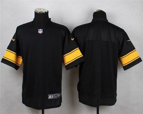 ID103421 Men\'s Pittsburgh Steelers Blank Black With Yellow Nike NFL Elite Jersey