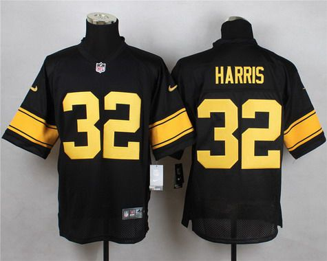 543b48e37b9 Men s Pittsburgh Steelers  32 Franco Harris Black With Yellow Retired Player  Nike NFL Elite Jersey