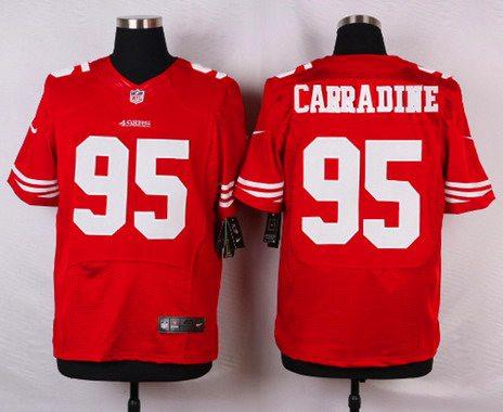 Men s San Francisco 49ers  95 Tank Carradine Scarlet Red Team Color NFL Nike  Elite Jersey d3885839f