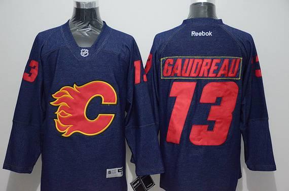 Men's Calgary Flames #13 Johnny Gaudreau Navy Blue Denim Fabric Fashion Jersey