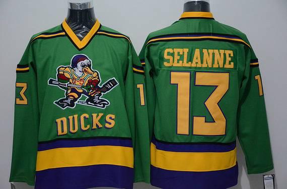Men's Mighty Ducks Of Anaheim #13 Teemu Selanne 1991-92 Green CCM Vintage Throwback Jersey