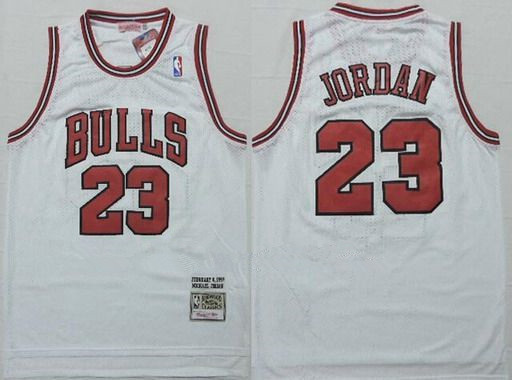 Men's Chicago Bulls #23 Michael Jordan 1997-98 White Hardwood Classics Soul Swingman Throwback Jersey