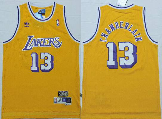 Men's Los Angeles Lakers #13 Wilt Chamberlain 1996-97 Yellow Hardwood Classics Soul Swingman Throwback Jersey