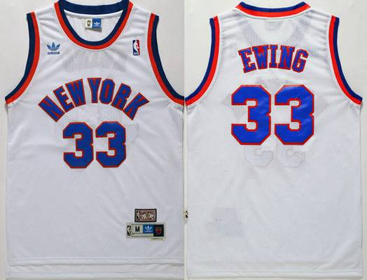 Men's New York Knicks #33 Patrick Ewing White Hardwood Classics Soul Swingman Throwback Jersey