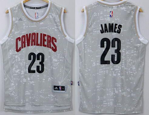 Men\'s Cleveland Cavaliers #23 LeBron James Adidas 2015 Gray City