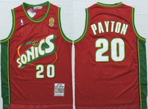 Men's Seattle Supersonics #20 Gary Payton 1997-98 Red Hardwood Classics Soul Swingman Throwback Jersey