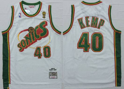 Men's Seattle Supersonics #40 Shawn Kemp 1995-96 White Hardwood Classics Soul Swingman Throwback Jersey