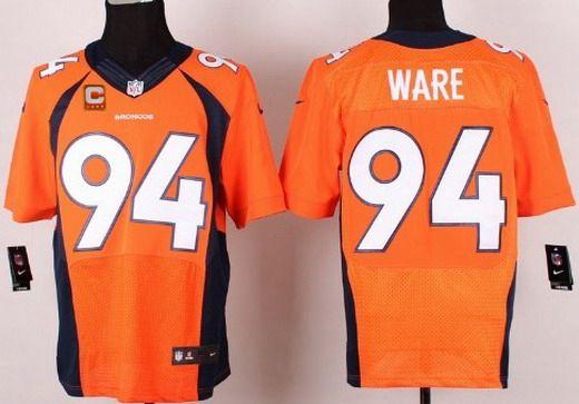Men's Denver Broncos #94 DeMarcus Ware Orange Team Color C Patch ...