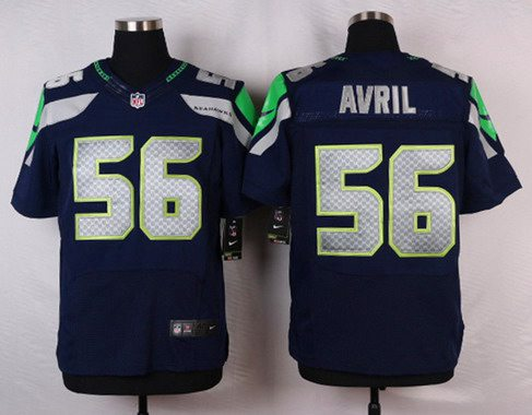 15f1fd63f5d Men s Seattle Seahawks  56 Cliff Avril Navy Blue Team Color NFL Nike Elite  Jersey