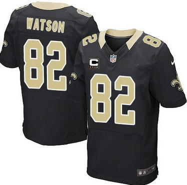 ID103223 Men\'s New Orleans Saints #82 Benjamin Watson Black Team Color C Patch NFL Nike Elite Jersey