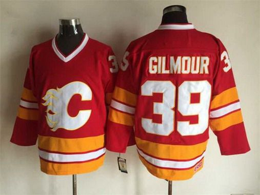 Men's Calgary Flames #39 Doug Gilmour 1981-82 Red CCM Vintage Throwback Jersey