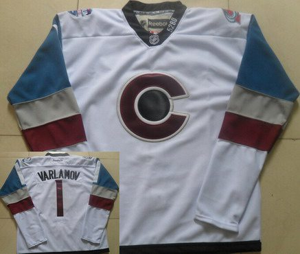 Men's Colorado Avalanche #1 Semyon Varlamov White 2016 Stadium Series Hockey Jersey