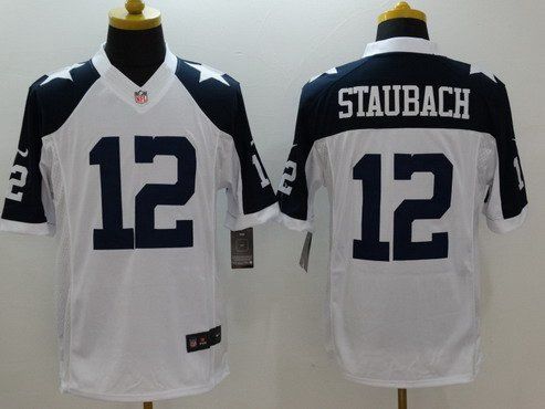 b695cc0a376 ... Mens Dallas Cowboys 12 Roger Staubach White Thanksgiving Retired Player NFL  Nike Limited Jersey ...