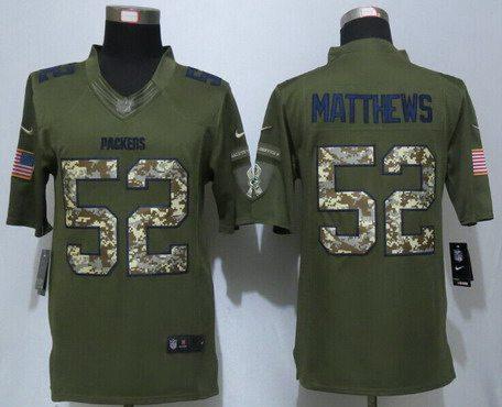 Jerseys NFL Cheap - Men's Green Bay Packers #52 Clay Matthews Green Salute To Service ...