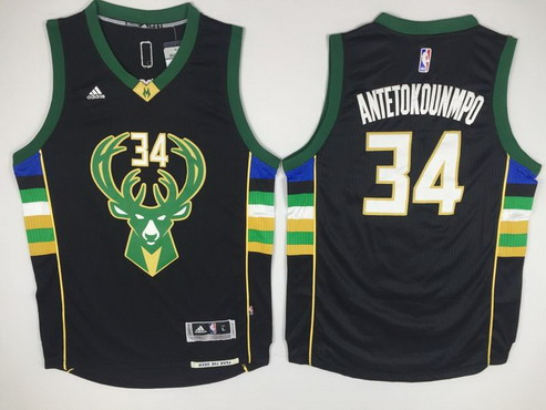 360cf4432 ... Mens Milwaukee Bucks 34 Giannis Antetokounmpo Revolution 30 Swingman  2015-16 Black Jersey ...