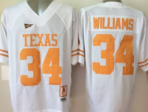 Men's Texas Longhorns #34 Ricky Williams White Throwback NCAA Football Jersey