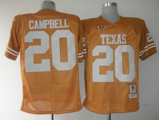 Men's Texas Longhorns #20 Earl Campbell Orange Throwback NCAA Football Jersey