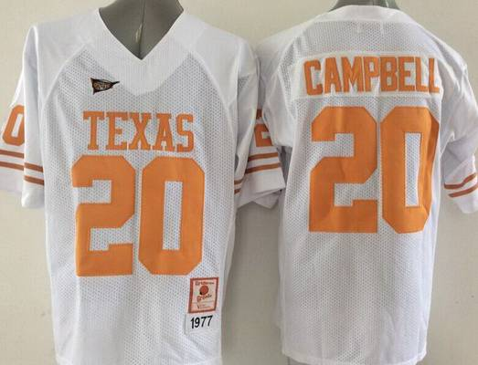 Men's Texas Longhorns #20 Earl Campbell White Throwback NCAA Football Jersey
