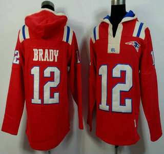ID102775 Men\'s New England Patriots #12 Tom Brady Red Alternate 2015 NFL Hoody
