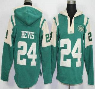 Men's New York Jets #24 Darrelle Revis Green Team Color 2015 NFL Hoodie