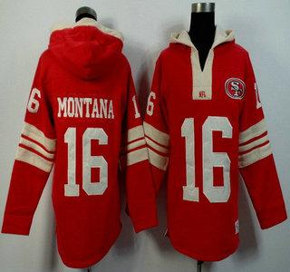 Men's San Francisco 49ers #16 Joe Montana Red Team Color Team Color 2015 NFL Hoody