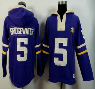Nike Minnesota Vikings #5 Teddy Bridgewater Purple Team Color Team Color 2015 NFL Hoody