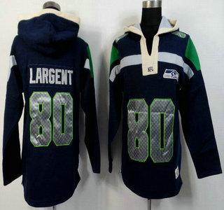 Men's Seattle Seahawks #80 Steve Largent Navy Blue Team Color 2015 NFL Hoody
