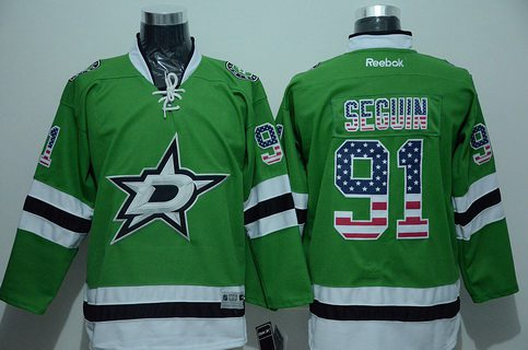 Men's Dallas Stars #91 Tyler Seguin Green USA Flag Hockey Jersey