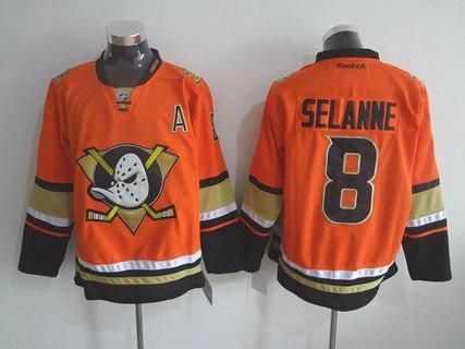 Men's Mighty Ducks Of Anaheim #8 Teemu Reebok 2015 Orange Alternate Premier Jersey