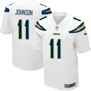 ID102713 Men\'s San Diego Chargers #11 Stevie Johnson White Road NFL Nike Elite Jersey