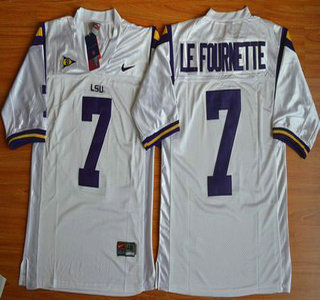 LSU Tigers #7 Le.Fournette White 2015 College Football Nike Limited Jersey