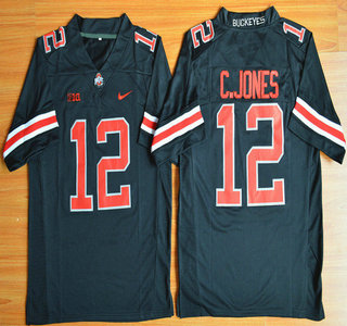 Ohio State Buckeyes #12 Cardale Jones Black With Red 2015 College Football Nike Limited Jersey