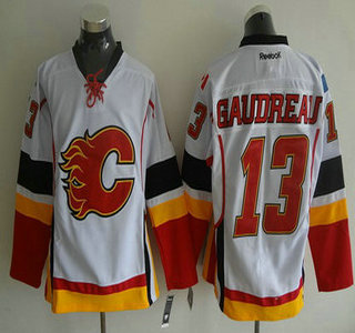 Calgary Flames #13 Johnny Gaudreau Reebok White Away Premier Hockey Jersey