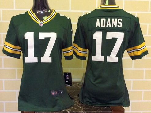 ID102624 Women\'s Green Bay Packers #17 Davante Adams Green Team Color NFL Nike Game Jersey