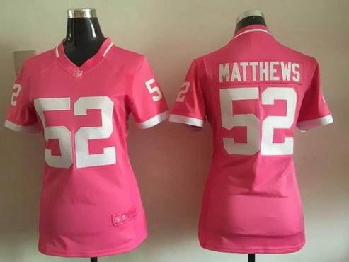 ID102626 Women\'s Green Bay Packers #52 Clay Matthews Pink Bubble Gum 2015 NFL Jersey